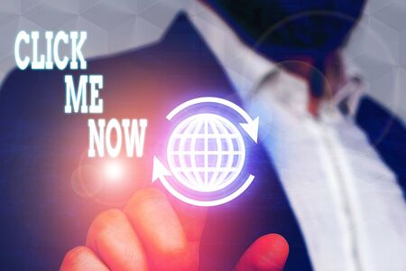 Conceptual hand writing showing Click Me Now. Concept meaning Internet helping desk Press the button Online Icon Nertwork