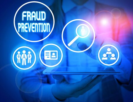 Writing note showing Fraud Prevention. Business concept for the act of stopping various types of internet fraud
