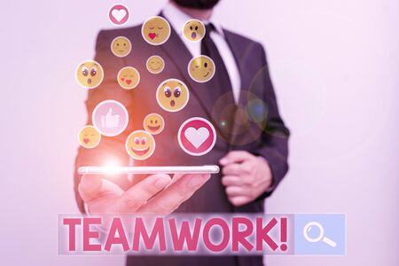 Text sign showing Teamwork. Business photo showcasing combined action of group especially when effective and efficient Reklamní fotografie