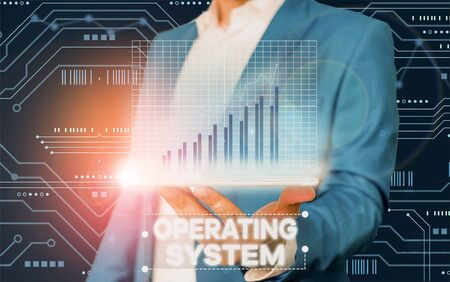 Conceptual hand writing showing Operating System. Concept meaning software that supports a computer s is basic functions Stock Photo - 135410591