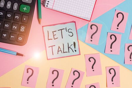 Conceptual hand writing showing Let S Talk. Concept meaning they are suggesting beginning conversation on specific topic Mathematics stuff and writing equipment on pastel background Stock fotó