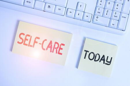 Text sign showing Self Care. Business photo showcasing the practice of taking action to improve one s is own health Flat lay above blank copy space sticky notes with business concept
