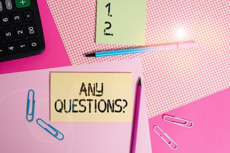 Text sign showing Any Questions Question. Business photo text you say write order to ask demonstrating about something writing equipments with stationary and plain note paper placed on the table Zdjęcie Seryjne