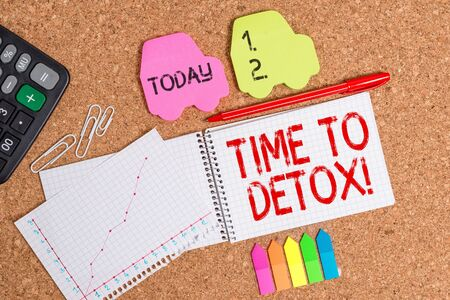Conceptual hand writing showing Time To Detox. Concept meaning when you purify your body of toxins or stop consuming drug Desk notebook paper office paperboard study supplies chart