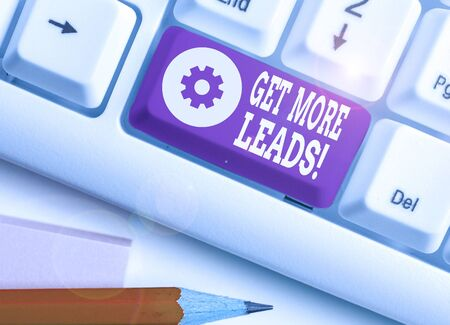 Conceptual hand writing showing Get More Leads. Concept meaning initiation consumer interest or enquiry products or services Stock Photo