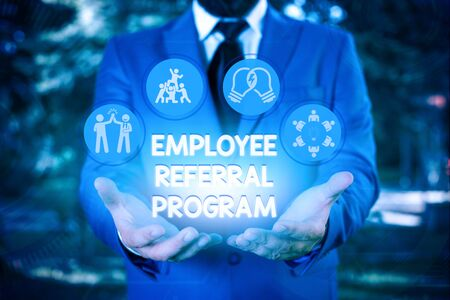 Writing note showing Employee Referral Program. Business concept for employees are rewarded for introducing recruits Foto de archivo