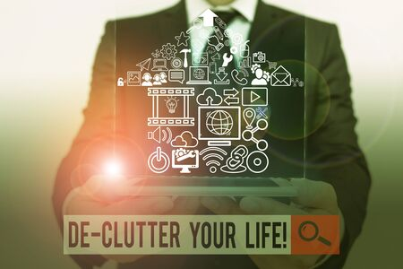 Conceptual hand writing showing De Clutter Your Life. Concept meaning remove unnecessary items from untidy or overcrowded places