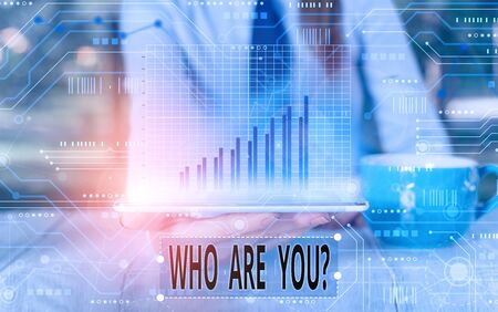 Text sign showing Who Are You Question. Business photo text asking about someone identity or demonstratingal information