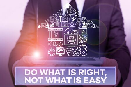 Text sign showing Do What Is Right Not What Is Easy. Business photo showcasing willing to stand up for what is right Banco de Imagens