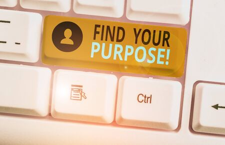 Writing note showing Find Your Purpose. Business concept for reason for something is done or for which still exists