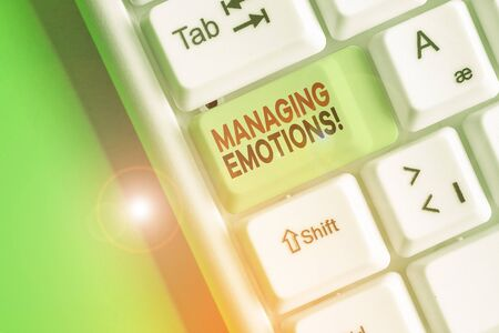 Conceptual hand writing showing Managing Emotions. Concept meaning ability be open to feelings and modulate them in oneself Banque d'images