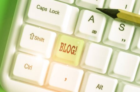 Word writing text Blog. Business photo showcasing regularly updated website or web page run by an individual or group Stock Photo