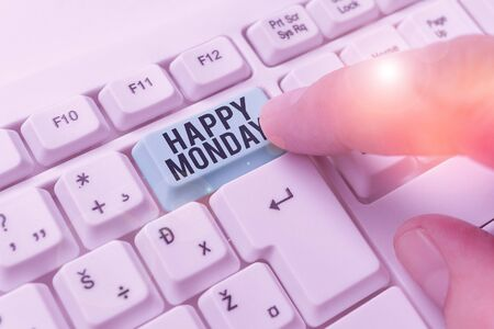 Text sign showing Happy Monday. Business photo showcasing telling that demonstrating order to wish him great new week