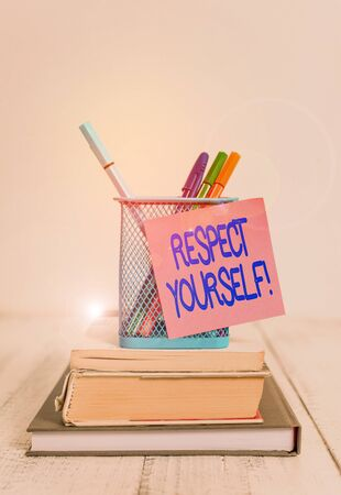 Word writing text Respect Yourself. Business photo showcasing believing that you good and worthy being treated well Stacked books pens metal holder sticky note lying vintage old wooden table