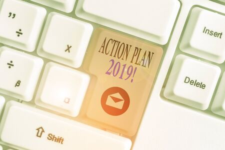 Conceptual hand writing showing Action Plan 2019. Concept meaning proposed strategy or course of actions for current year Reklamní fotografie