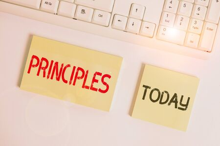Text sign showing Principles. Business photo showcasing fundamental truth that serves as the base for a system of belief Flat lay above blank copy space sticky notes with business concept