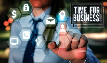 Writing note showing Time For Business. Business concept for fulfil transactions within period promised to client Imagens
