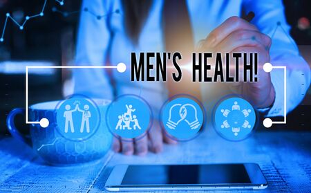 Conceptual hand writing showing Men S Health. Concept meaning state of complete physical mental and social well being by analysis