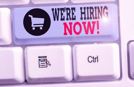 Writing note showing We Re Hiring Now. Business concept for recently employ someone or pay someone to do particular job