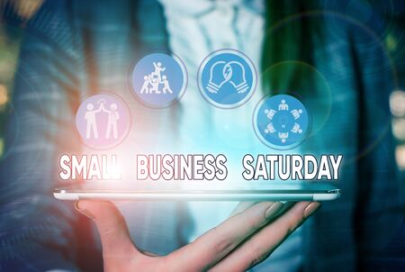 Text sign showing Small Business Saturday. Business photo text American shopping holiday held during the Saturday Banco de Imagens - 135531879