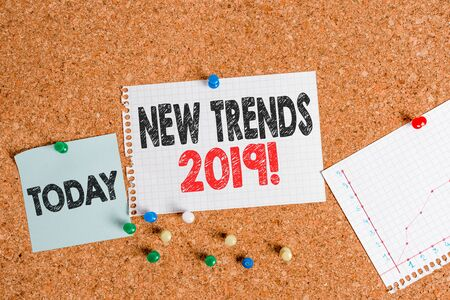 Text sign showing New Trends 2019. Business photo text general direction in which something is developing Corkboard color size paper pin thumbtack tack sheet billboard notice board