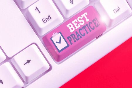 Handwriting text Best Practice. Conceptual photo commercial procedures that are accepted prescribed being correct
