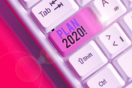 Handwriting text writing Plan 2020. Conceptual photo detailed proposal doing achieving something next year