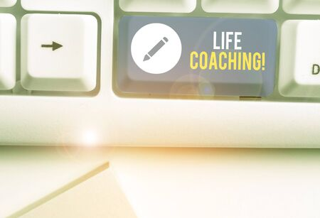 Conceptual hand writing showing Life Coaching. Concept meaning demonstrating employed to help showing attain their goals in career Stock Photo