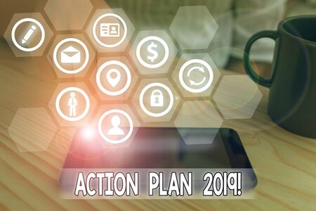 Word writing text Action Plan 2019. Business photo showcasing proposed strategy or course of actions for current year