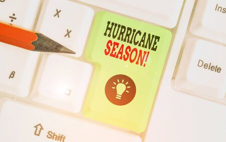 Text sign showing Hurricane Season. Business photo showcasing time when most tropical cyclones are expected to develop