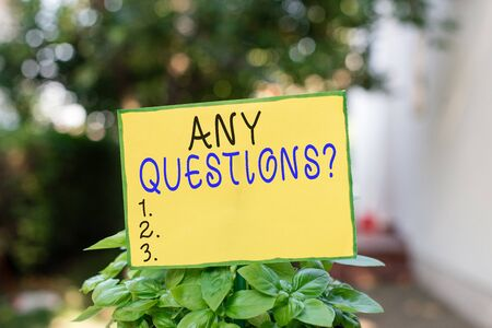 Writing note showing Any Questions Question. Business concept for you say write order to ask demonstrating about something Plain paper attached to stick and placed in the grassy land Zdjęcie Seryjne