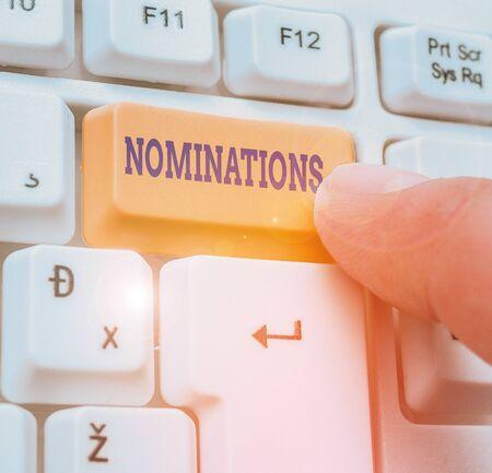 Escritura a mano conceptual mostrando las nominaciones. Concepto Significado acción de nominación o estado nominado para premio