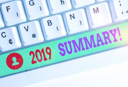 Word writing text 2019 Summary. Business photo showcasing summarizing past year events main actions or good shows Stock Photo