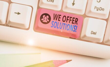 Text sign showing We Offer Solutions. Business photo text way to solve problem or deal with difficult situation