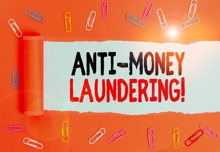 Writing note showing Anti Money Laundering. Business concept for regulations stop generating income through illegal actions Paper clip and torn cardboard on wood classic table backdrop