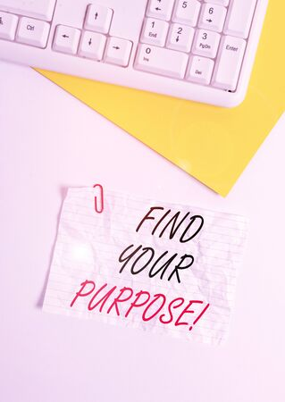 Text sign showing Find Your Purpose. Business photo showcasing reason for something is done or for which still exists Flat lay above white blank paper with copy space for text messages