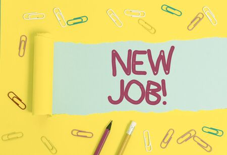 Text sign showing New Job. Business photo showcasing recently having paid position of regular employment Stationary and torn cardboard placed above a plain pastel table backdrop