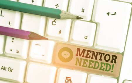 Writing note showing Mentor Needed. Business concept for Employee training under senior assigned act as advisor