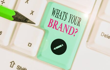 Writing note showing What's Your Brand Question. Business concept for asking about product does or what you communicate