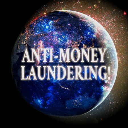Text sign showing Anti Money Laundering. Business photo showcasing regulations stop generating income through illegal actions