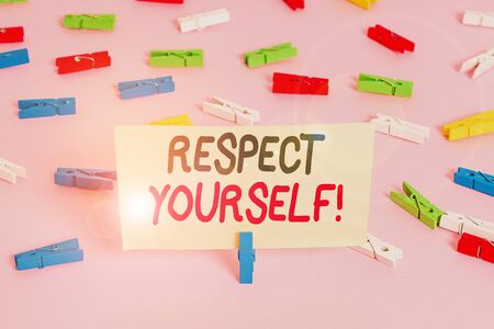 Conceptual hand writing showing Respect Yourself. Concept meaning believing that you good and worthy being treated well Colored clothespin papers empty reminder pink floor office