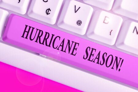 Handwriting text Hurricane Season. Conceptual photo time when most tropical cyclones are expected to develop