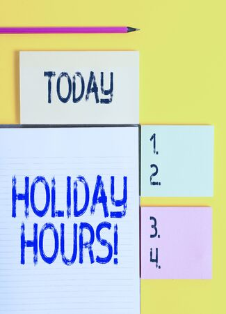 Handwriting text Holiday Hours. Conceptual photo Overtime work on for employees under flexible work schedules Colored empty papers with copy space on the yellow background table