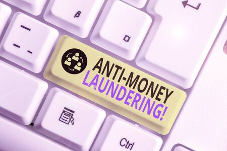 Conceptual hand writing showing Anti Money Laundering. Concept meaning regulations stop generating income through illegal actions