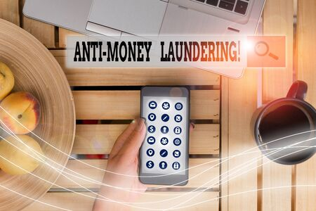 Handwriting text Anti Money Laundering. Conceptual photo regulations stop generating income through illegal actions Stock Photo