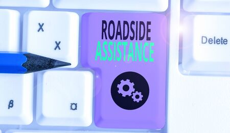 Handwriting text writing Roadside Assistance. Conceptual photo helps drivers when their vehicle breaks down on the road Stock Photo