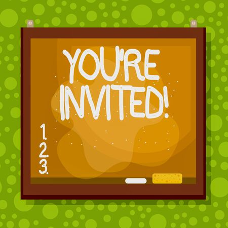 Text sign showing You Re Invited. Business photo showcasing make a polite friendly request to someone go somewhere Asymmetrical uneven shaped format pattern object outline multicolour design Standard-Bild