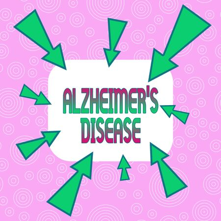 Conceptual hand writing showing Alzheimer S Disease. Concept meaning Advanced mental deterioration that occur in old age Asymmetrical uneven shaped pattern object multicolour design