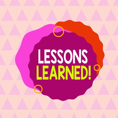 Text sign showing Lessons Learned. Business photo text experiences distilled project that should actively taken Asymmetrical uneven shaped format pattern object outline multicolour design