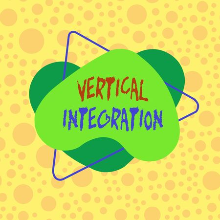 Conceptual hand writing showing Vertical Integration. Concept meaning Merger of companies at different stages of production Asymmetrical format pattern object outline multicolor design